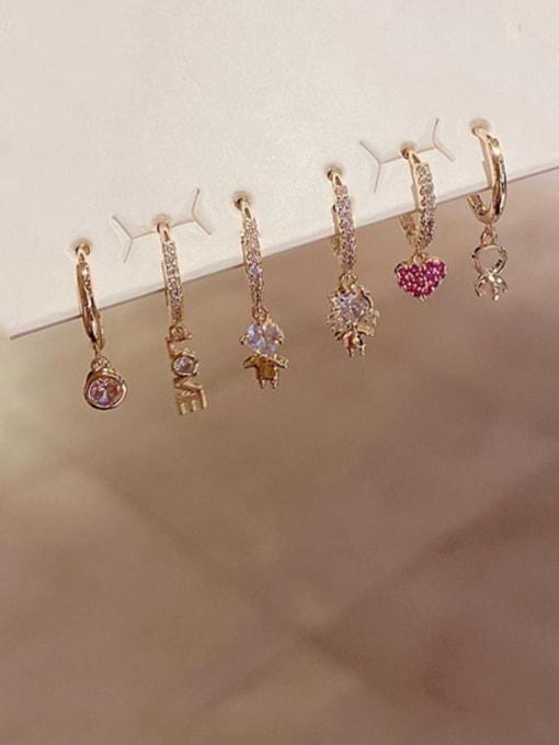 Ming Brass Rhinestone Heart Minimalist Huggie Earring