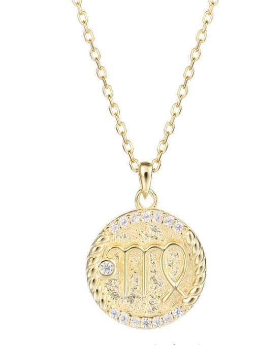 Ya0084 Virgo 925 Sterling Silver Rhinestone  Minimalist  Constellation Pendant Necklace