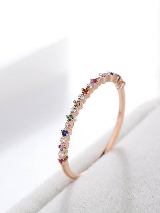 Ming Brass Cubic Zirconia Multi Color Geometric Minimalist Band Ring