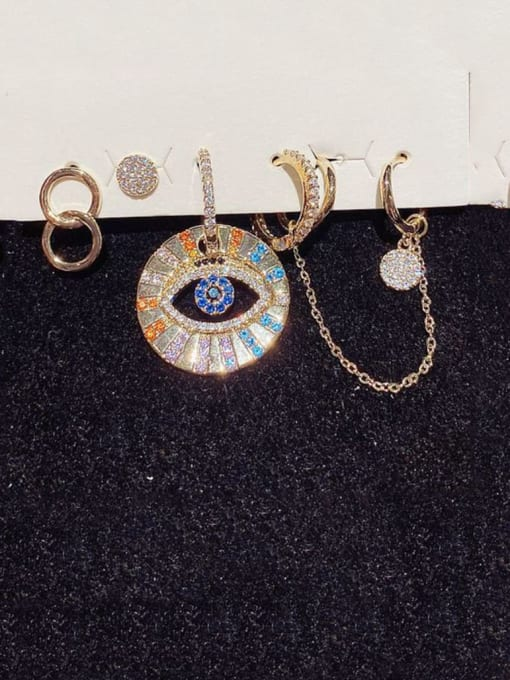 Ming Brass Cubic Zirconia Geometric Hip Hop Huggie Earring 1