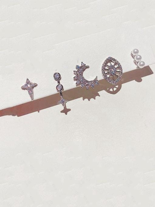 Ming Brass Rhinestone Geometric Bohemia Huggie Earring