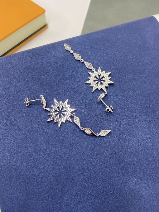 LM 925 Sterling Silver Cubic Zirconia Drop Earring 1