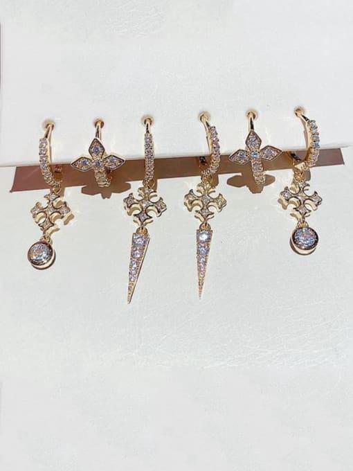 Ming Brass Rhinestone Cross Ethnic Huggie Earring