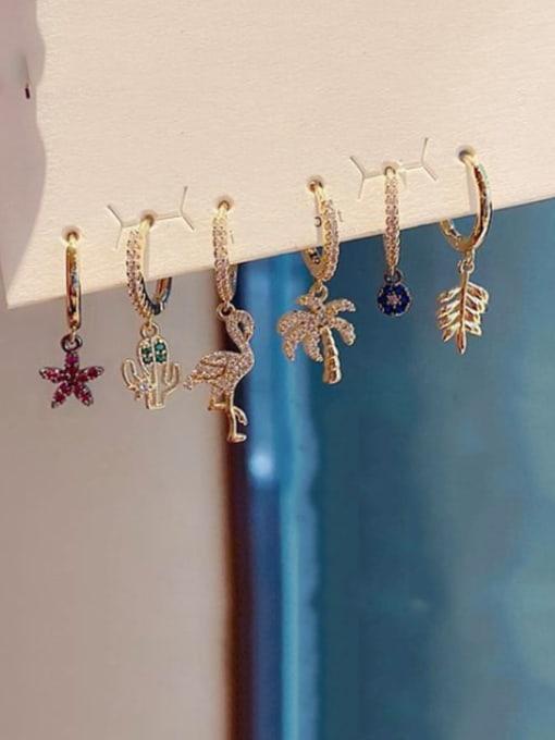 Ming Brass Cubic Zirconia Star Cute Leaf Huggie Earring 1