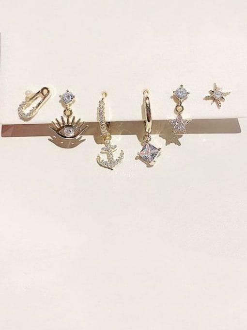 Ming Brass Cubic Zirconia Irregular Dainty Huggie Earring 1