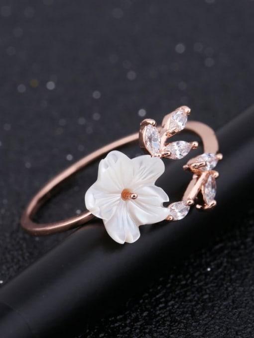 Ming Brass Resin Flower Minimalist Band Ring 3
