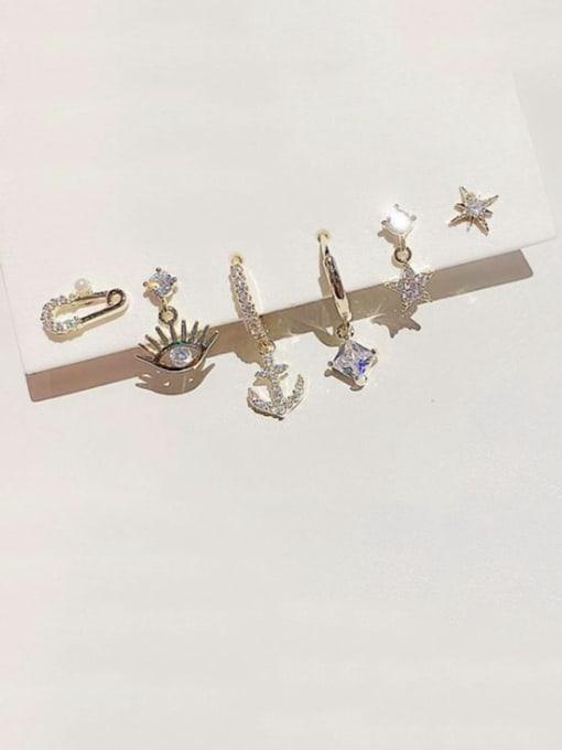 Ming Brass Cubic Zirconia Irregular Dainty Huggie Earring