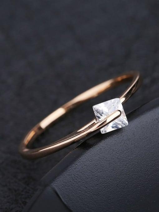 Ming Brass Cubic Zirconia Geometric Minimalist Band Ring 2