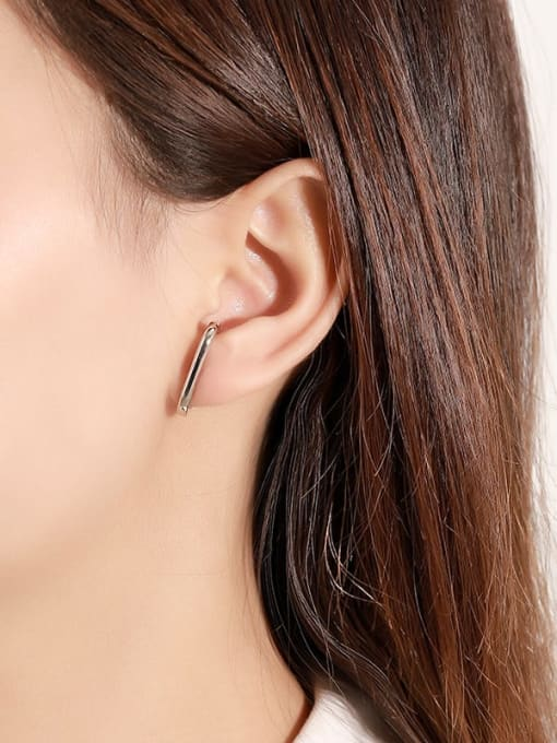 LM 925 Sterling Silver E shape Dainty Clip Earring 1