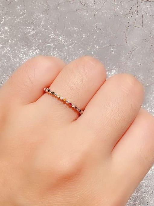 Ming Brass Cubic Zirconia Multi Color Geometric Minimalist Band Ring 4