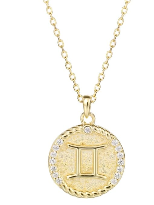 Ya0084 Gemini 925 Sterling Silver Rhinestone  Minimalist  Constellation Pendant Necklace