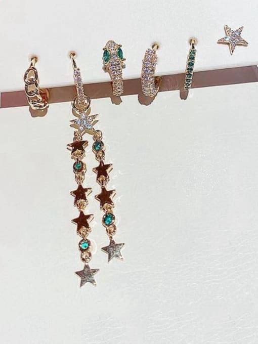 Ming Brass Cubic Zirconia Dainty Simple light luxury star tassel  Stud Earring 0