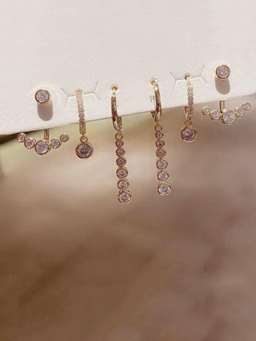 Ming Brass Rhinestone Geometric Dainty Huggie Earring 1
