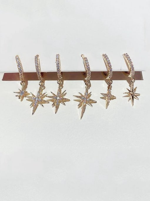 Ming Brass Rhinestone Cross Dainty Huggie Earring