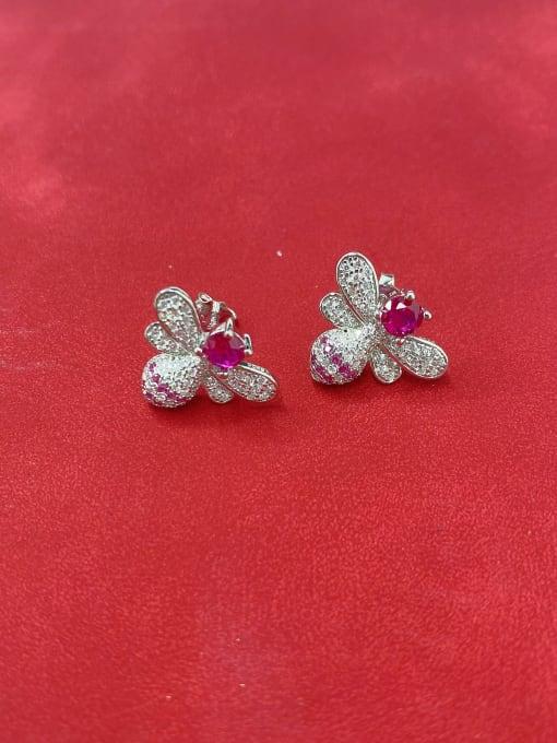 LM 925 Sterling Silver Purple Cluster Earring