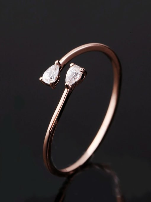 Ming Brass Cubic Zirconia Water Drop Minimalist Band Ring