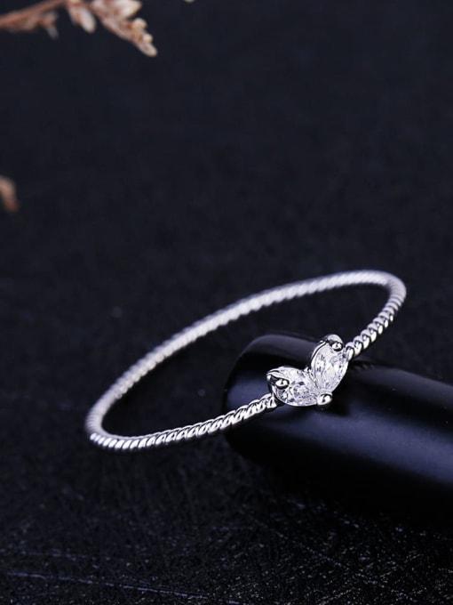 Ming Brass Cubic Zirconia Heart Minimalist Band Ring 4