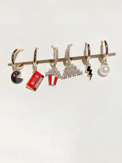 Ming Brass Cubic Zirconia Geometric Ethnic Huggie Earring 1