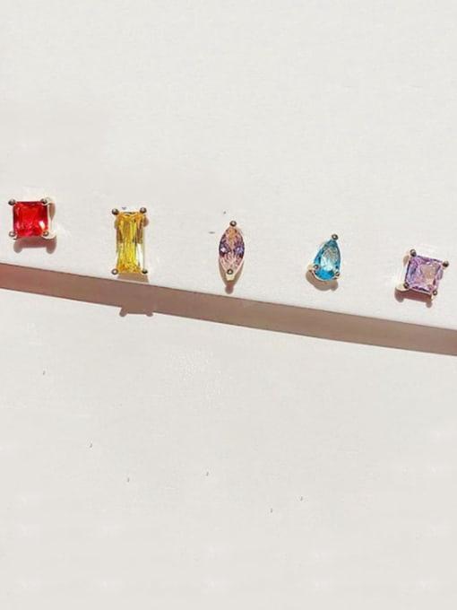Ming Brass Cubic Zirconia Geometric Minimalist Stud Earring 1