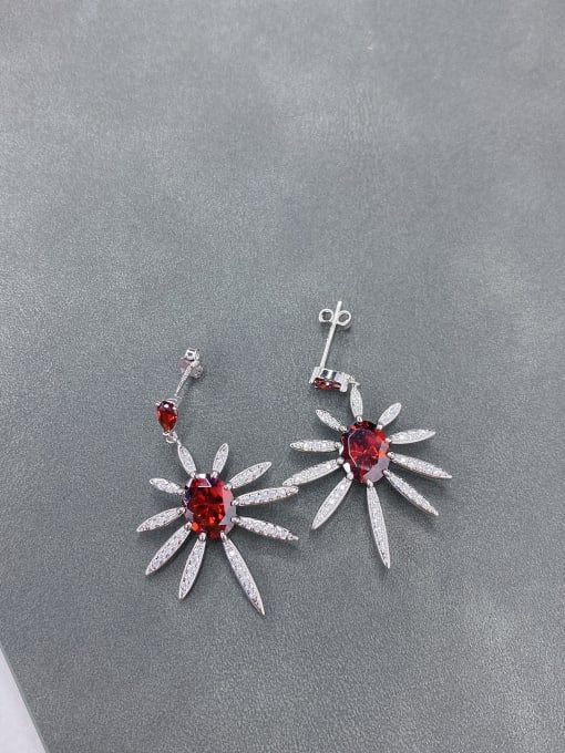 LM 925 Sterling Silver Cubic Zirconia Red Cluster Earring 2