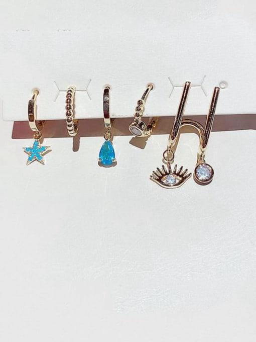 Ming Brass Rhinestone Water Drop Minimalist Huggie Earring