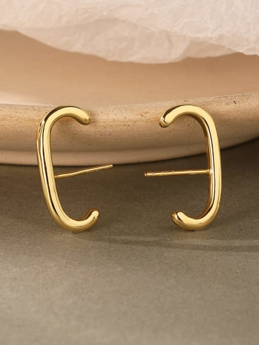 LM 925 Sterling Silver E shape Dainty Clip Earring 0