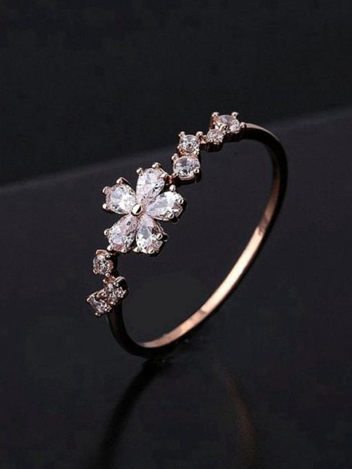 Ming Brass Cubic Zirconia Flower Minimalist Band Ring
