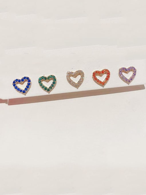 Ming Brass Rhinestone Heart Minimalist Stud Earring