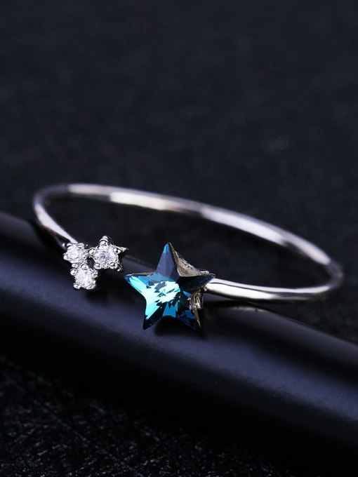 Ming Brass Cubic Zirconia Star Minimalist Band Ring