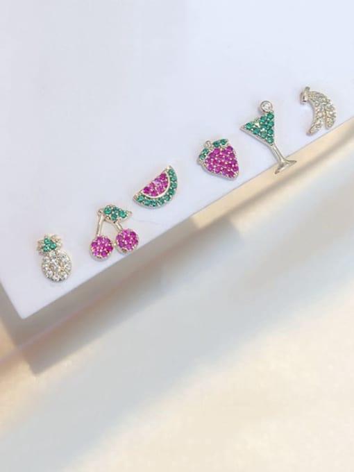 Ming Brass Rhinestone Friut Dainty Stud Earring 1