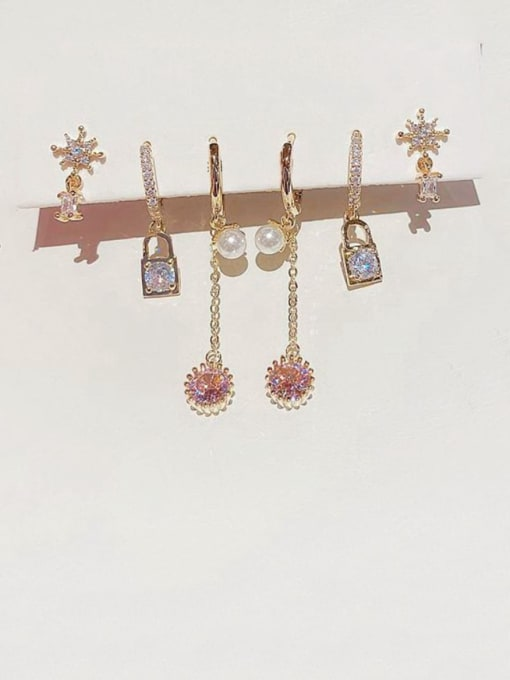 Ming Brass Cubic Zirconia Cute Simple Star Tassel Set Stud Earring