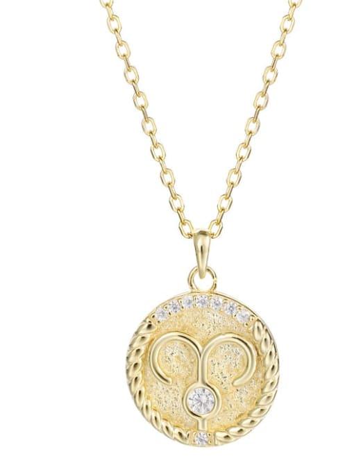 Ya0084 Aries 925 Sterling Silver Rhinestone  Minimalist  Constellation Pendant Necklace