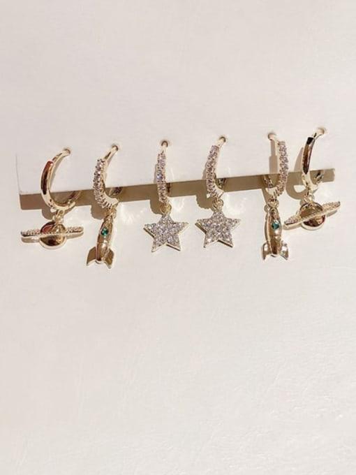 Ming Brass Cubic Zirconia Star Dainty Huggie Earring