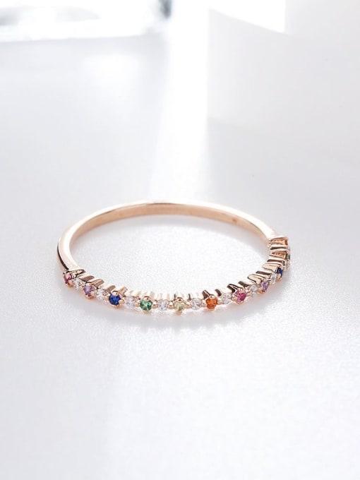 Ming Brass Cubic Zirconia Multi Color Geometric Minimalist Band Ring 1