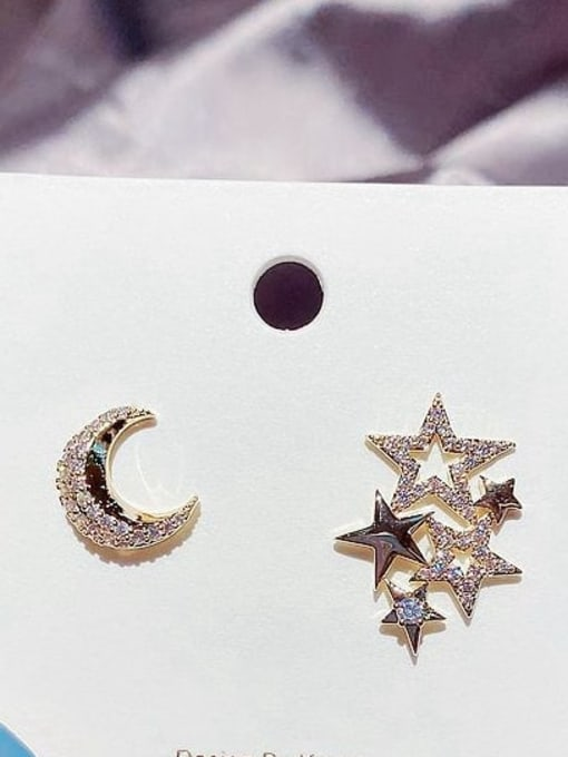 Ming Brass Cubic Zirconia Star Cute Stud Earring