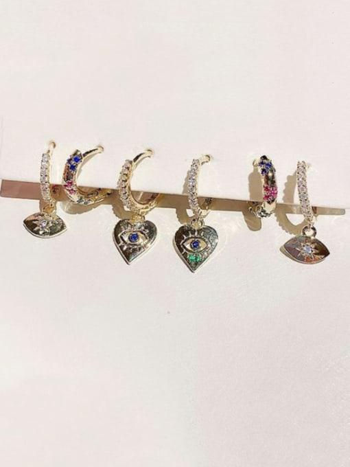Ming Brass Cubic Zirconia Heart Minimalist Huggie Earring