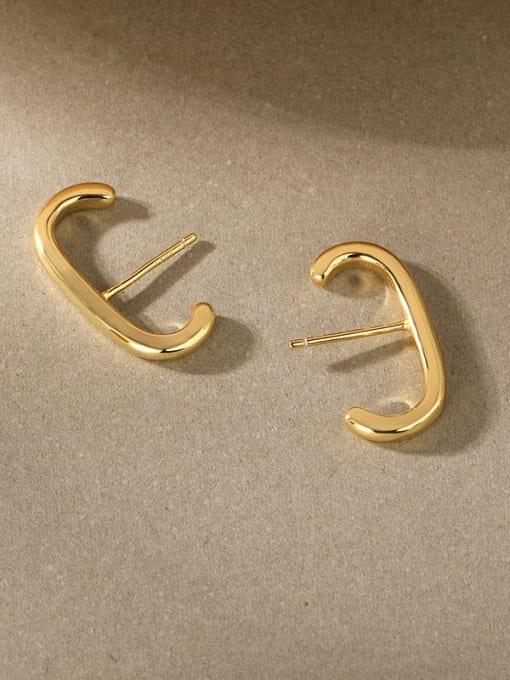 Gold 925 Sterling Silver E shape Dainty Clip Earring