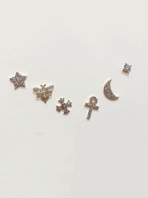 Ming Brass Rhinestone Star Minimalist Stud Earring