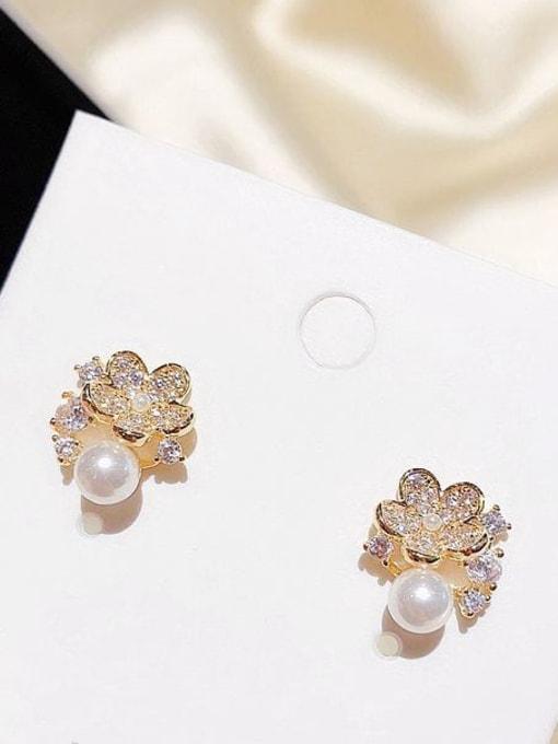 Ming Brass Cubic Zirconia Flower Dainty Stud Earring 1