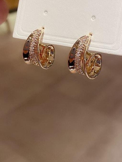 Ming Brass Cubic Zirconia Irregular Ethnic Stud Earring 1