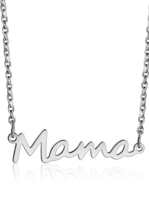 LM Titanium Steel Letter Mama Minimalist Necklace 1
