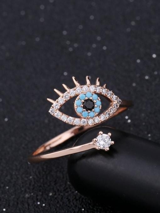 Ming Brass Cubic Zirconia Evil Eye Ethnic Band Ring 2