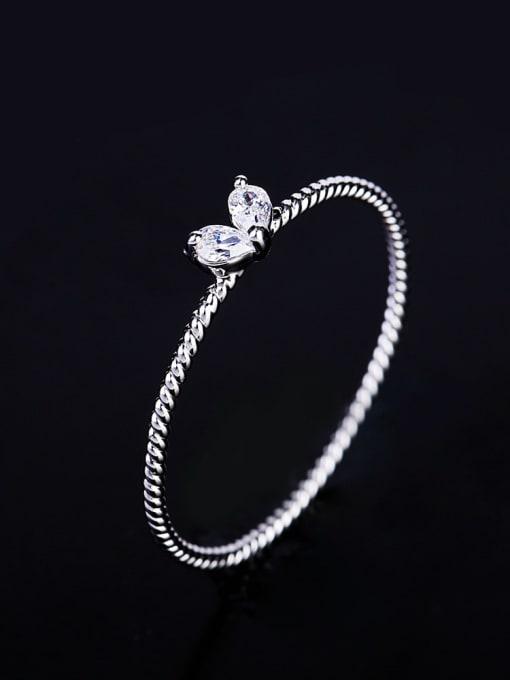 platinum Brass Cubic Zirconia Heart Minimalist Band Ring