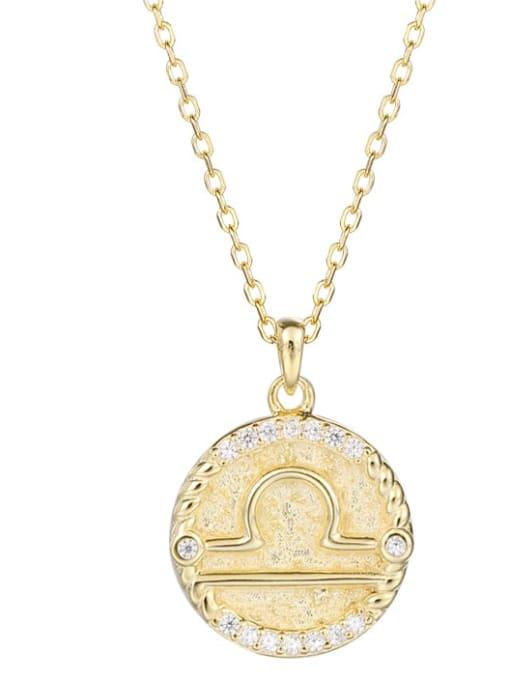 Ya0084 Libra 925 Sterling Silver Rhinestone  Minimalist  Constellation Pendant Necklace