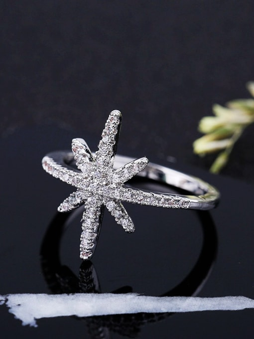 Ming Brass Cubic Zirconia Flower Minimalist Band Ring 2