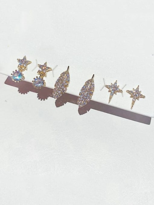 Ming Brass Cubic Zirconia Star Leaf Dainty Huggie Earring 1