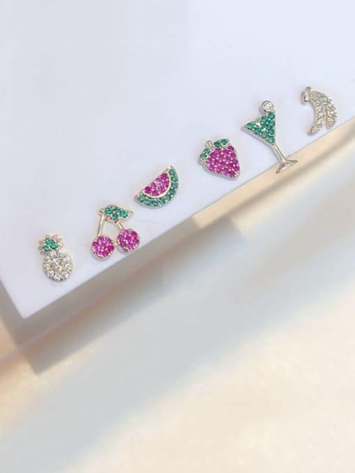 Ming Brass Rhinestone Friut Dainty Stud Earring