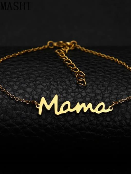 Gold Bracelet Titanium Steel Letter Mama Minimalist Necklace