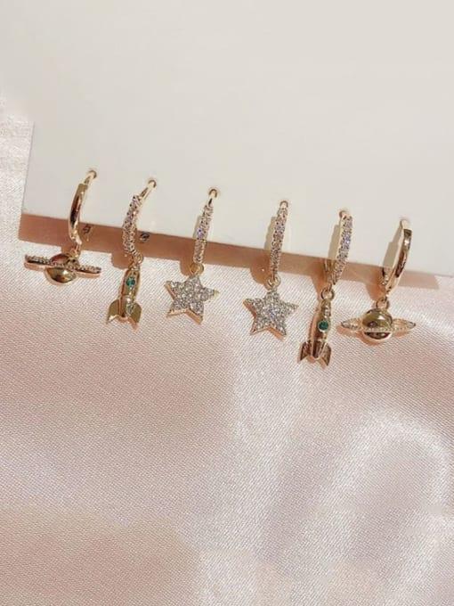 Ming Brass Cubic Zirconia Star Dainty Huggie Earring 1