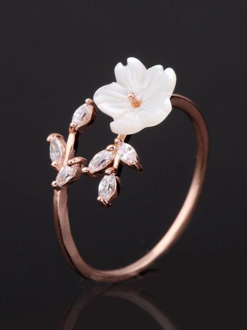 Ming Brass Resin Flower Minimalist Band Ring 0